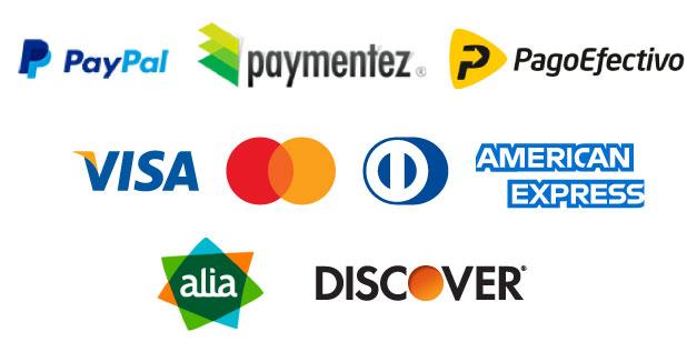 Logos de pasarelas de pago y tarjetas de crédito