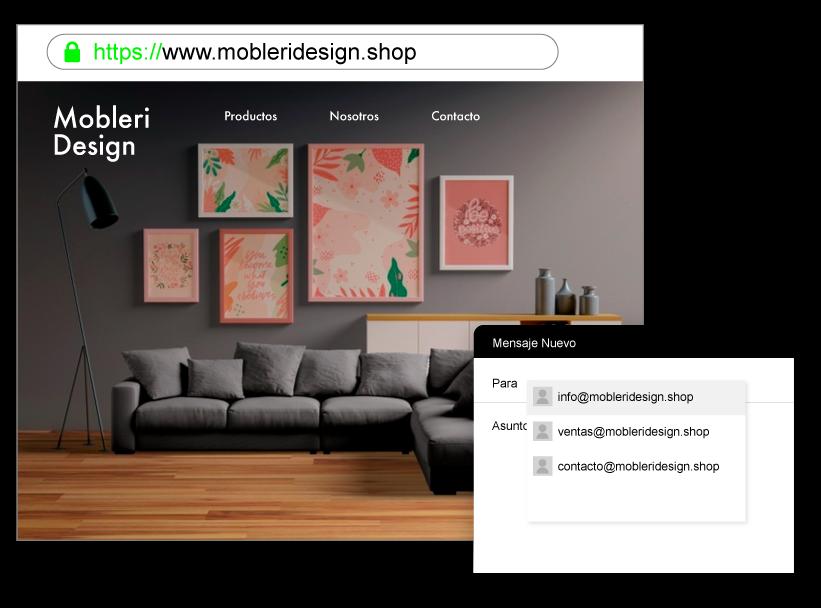 Ejemplo de sitio web con dominio propio y cuentas de email